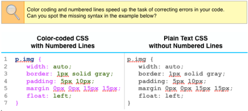 Color-coded CSS vs Plain Text CSS